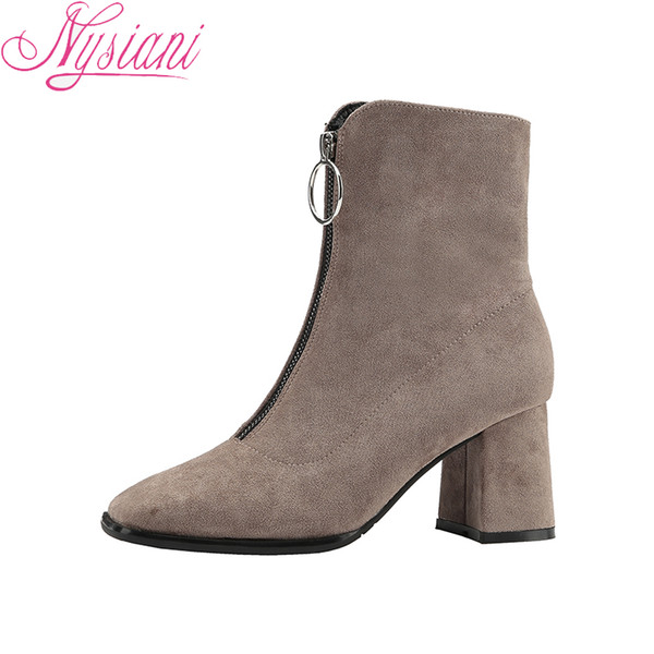 476704e64ba 2018 Front Zipper Fashion Square Toe Thick Heels Ankle Boots For Women  Brand Designer British Style