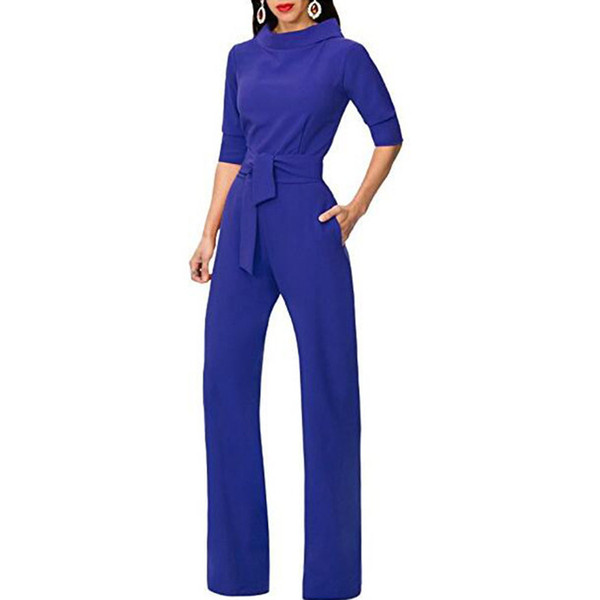 2018 Summer Elegant Tracksuit rompers Women Jumpsuit Ladies Turn Down Collar Wide Leg Pants Trousers female dungarees Work Wear