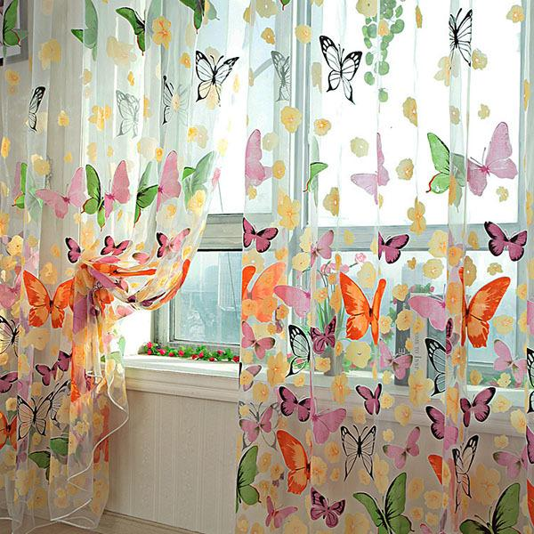 best selling Butterfly Sheer Curtain Summer Window Door Panel Curtain Room Divider Voile Drape Window Balcony Screen Curtain for living room