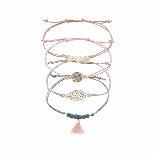 2018 Fashion Handmade Rope Chain Friendship Bracelets for women Gift Heart Arrow Crystal Bead Tassel Leaf Hamsa Eagle Bracelet
