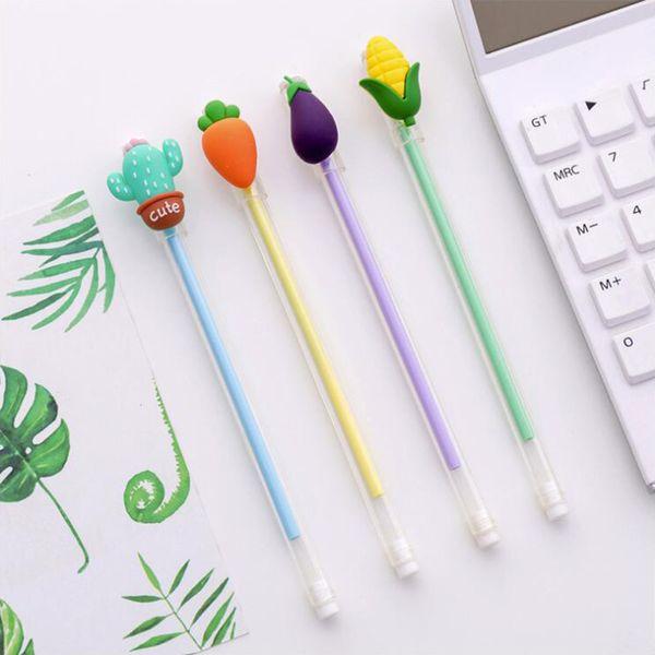 Korean Vegetable Shape Gel Pen DIY Office Stationery and School Supplies Smooth Writing Black Ink 0.5mm Pen 4PCS
