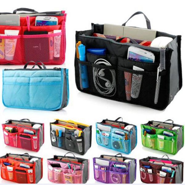 10 colors Bag in Bag Dual Insert Multi-function Handbag Makeup Pocket Organizer Purse multi color in stock