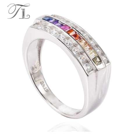 TL 925-Sterling-Silver Rings For Women Rainbow Cubic Zircon Rectangle Cabochon Rings Gradient Color Rings Unique Silver Jewelry