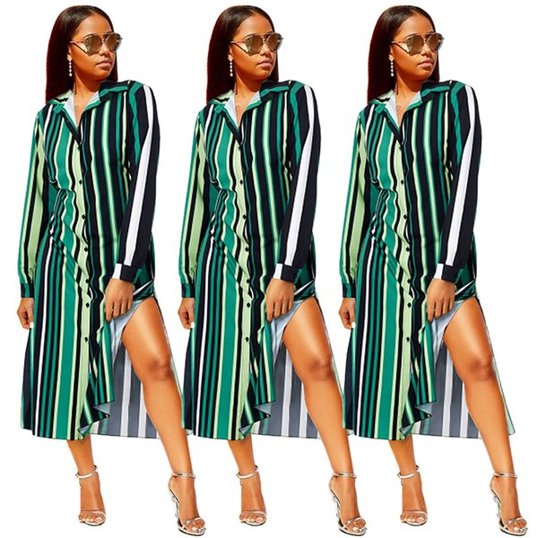 Green Striped Long Sleeves Fashion Women Shirt Dress with Side Split Lapel Neck Buttons Charming Long Dress Mid Calf Autumn Spring 2018-2019