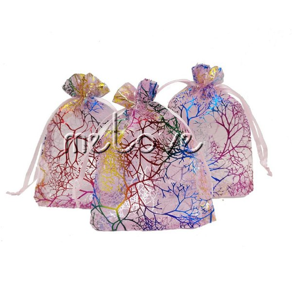 100 Pcs / lot Pink Coral Organza Drawstring Pouches 7x9cm (2.7X 3.5 inch) Jewelry Wedding Favor Gift Bags Amazing Design Idea Packing Supply