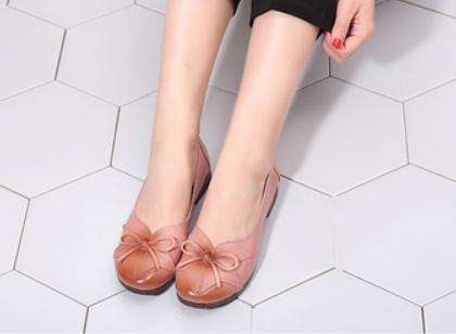 Free send 2018 spring and autumn new style Shallow mouth flat bottom bowknot anti slip Middle age and old age women's shoes