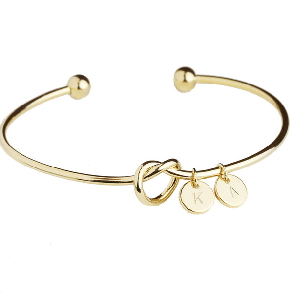 Charm Knot Bracelets For Women Simple Wind DIY Bracelet Personalized Knotted Bangle Love Bracelets Tie Bangles With ABCD-XYZ Little Charms