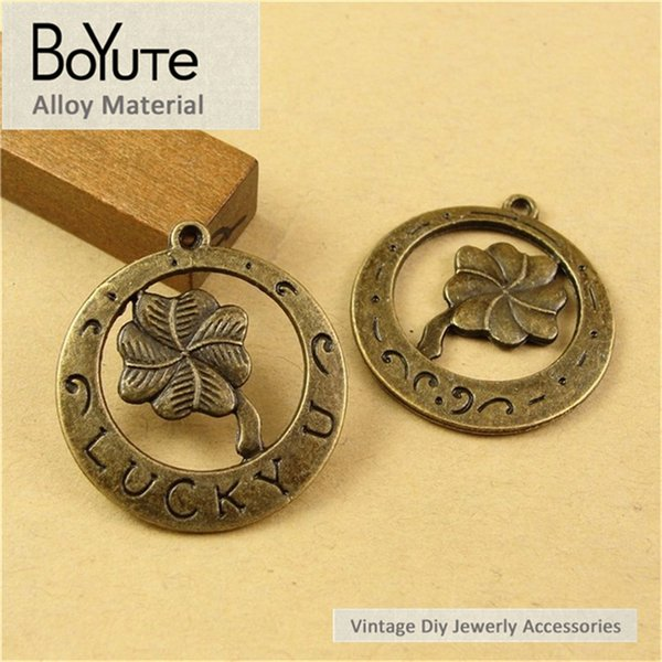 BoYuTe (60 Pieces/Lot) 25MM Flower Leaf Charms Lucky Clover Charms for Jewelry Making Antique Bronze Plated Diy Accessories Parts Hand Made