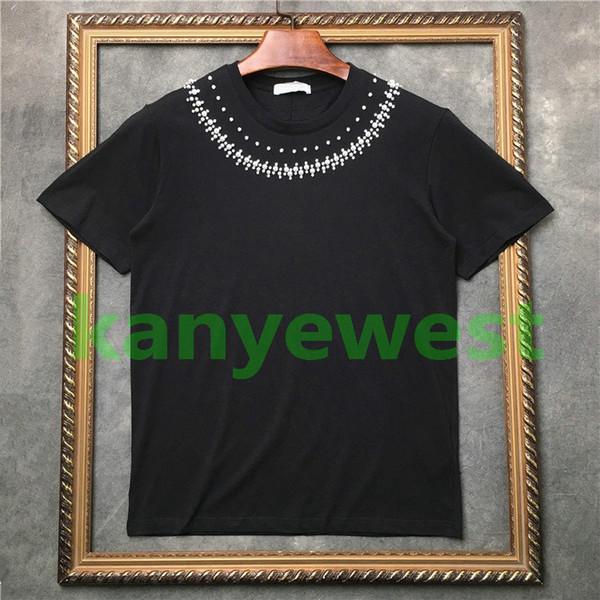 2018 verão mais novo Marca de Luxo de Rua dos homens Manual frisado broca broca flash t camisas estrela camiseta de algodão de Alta Qualidade casual Designer ts