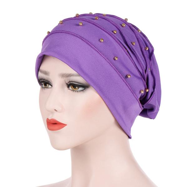 ufficiale super popolare dove acquistare Acquista Musulmano Donne Stretch Cotton Ruffle Bead Turbante ...