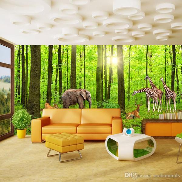 Großhandel Benutzerdefinierte 3D Fototapete Wald Baum Giraffe Hirsch Große  Wohnzimmer Hintergrund Wand Dekor Malerei Vlies Stroh Tapeten Von ...