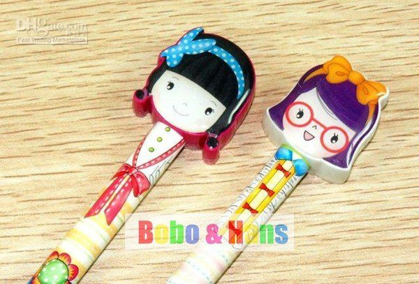 Free Shipping/New cute Cartoon gril Doll style ball pen/Korean Style / Promotion Gift /Wholesale