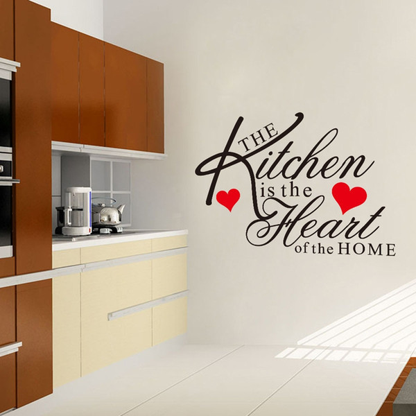The Kitchen is the Heart of the Home Wall Quotes Decal Words Lettering Saying Wall Decor Sticker