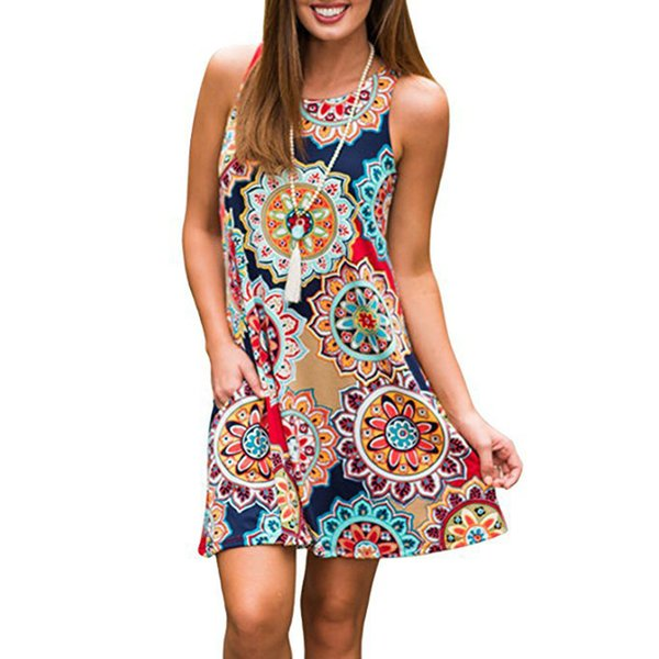 European and American hot style printed sleeveless sleeve head full swing dress 17 colors 5 yards