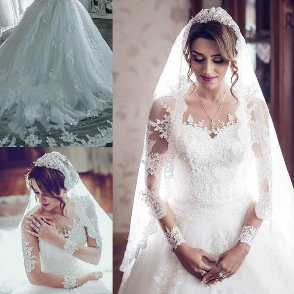 Stunning Long Sleeve Pearls Beads Wedding Dresses Illusion Sheer Lace Arabic Plus Size vestido de noiva Bridal Gown Ball For Bride
