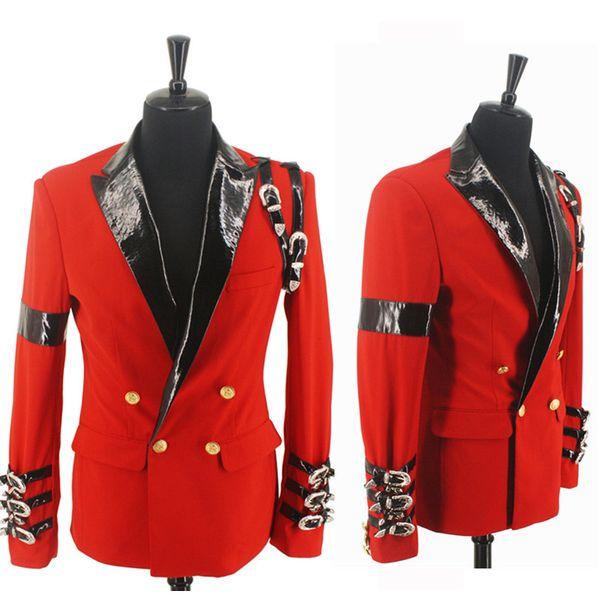 Serin MJ Michael Jackson KÖTÜ Rahat Ödülü Töreni Kırmızı Takım Blazer Punk Toka Serin Ceket XXS-4XL