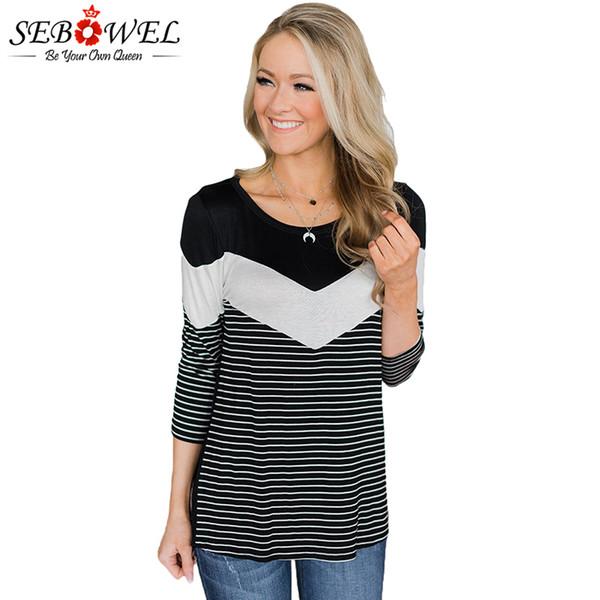 SEBOWEL Mujeres manga larga negro blanco rayas camiseta Top Plus tamaño hembra O cuello Chevron camiseta otoño damas Vintage camiseta