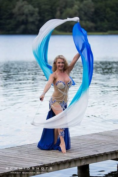 """white-turquoise-blue, 1 piece 1.8m*0.9m(70""""*35"""") detachable hand painted belly dance silk veil poi, real flowy silk!"""