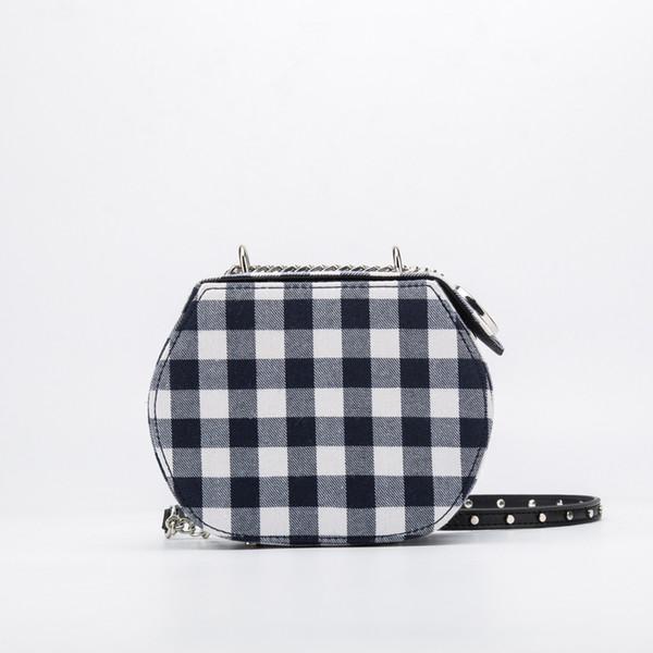 Canvas Plaid Circle Round Box Bags Chain Women Bags Brand Luxury Design Evening Korean Girls Purse Clutches Cross Body Bag