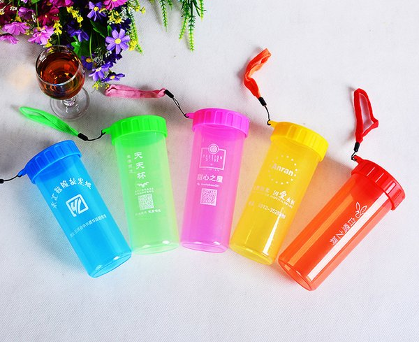 Creative Gift Plastic Water Cup Portable Leakproof Sports Drinking Bottles Custom Made Logo DrinkWare Cheap Wholesale