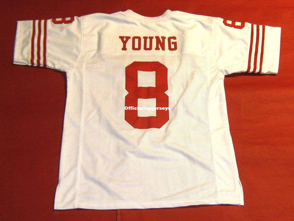 meet 47c66 dbd61 2018 Cheap Retro #8 Steve Young Custom Mitchell & Ness Jersey Read Note  White Mens Stitching Throwbacks Size S 5xl Football Jerseys Rugby From ...