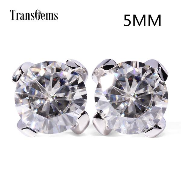 Transgems 14K 585 White Gold 1ctw 5mm lab Created Moissanite Diamond Stud Earrings For Women Push Back Earrings S923