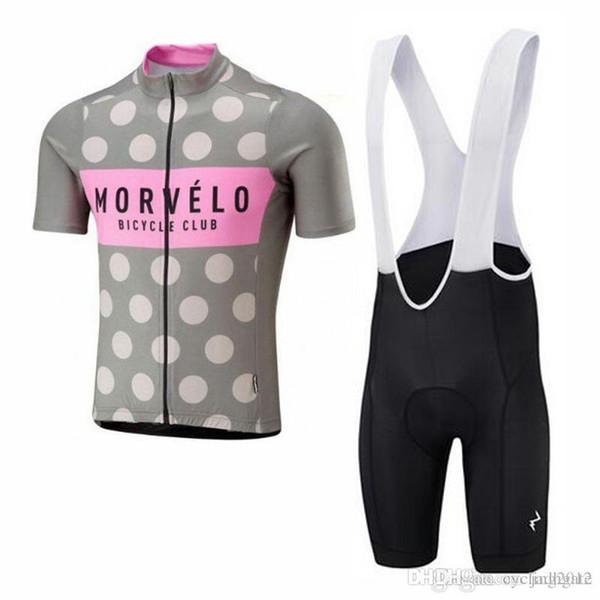 2018 Morvelo Cycling Maglie maniche corte kit abbigliamento ciclismo con pantaloncini Hombre Racing Mtb Bike Sport Quick Dry Ropa ciclismo F2106