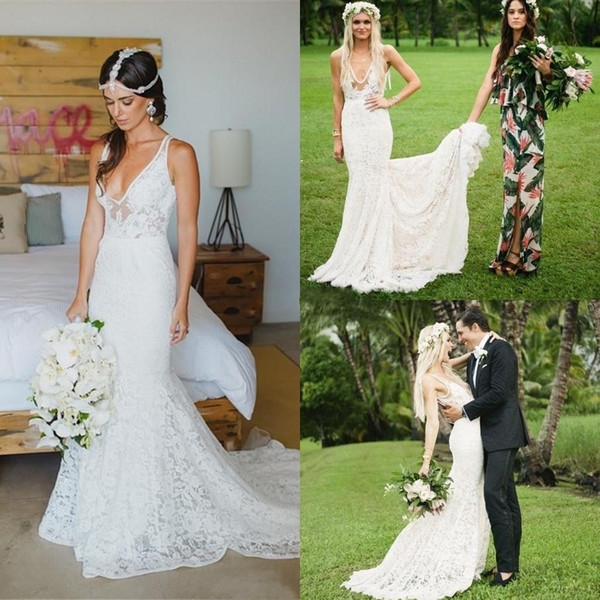 Bohemian Mermaid Country Wedding Dresses 2018 Full Lace Deep V Neck Applique Backless Wedding Gowns Sexy Court Train Beach Bridal Gowns