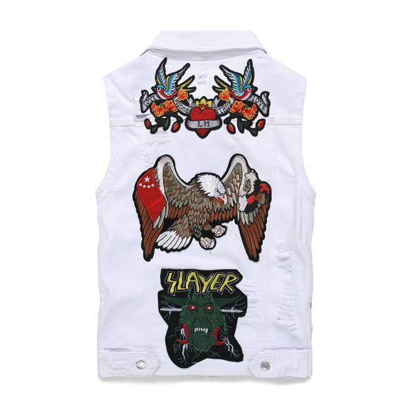 New Denim Jacket Ricamo Uomo Gilet Casual Giacca a vento da uomo Casual Bomber Coat Jean Punk Hip Hop Streetwear Canotte da cowboy
