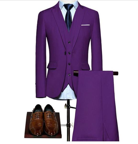 (Blazer+Pants+Vest) Classic Men Suit Slim Royal Blue Wedding Groom Wear Men Suit Black Gentlemen Costume Mariage Homme S-6XL groom suit