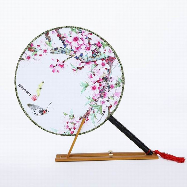 Elegant Cherry blossom Round Hand Fan Handle 3d print Traditional Craft Silk Fabric Fan Decorative Chinese Fan Dance Costume 10pcs/lot