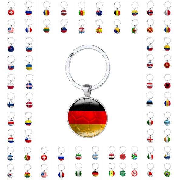 Flag Key chain 2018 Russia world cup football fans gift key rings handmade one side with graphics freeshipping by DHL