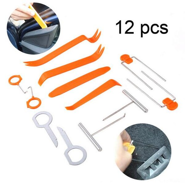 12 Pcs Painel Do Carro de Plástico Remover Kits de Rádio Auto Painel Clipe Da Porta Guarnição Traço de Remoção de Áudio Installer Pry Tool Reparação Set