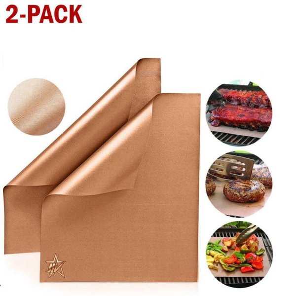 BBQ Grill Mat Copper Bakeware Mat Resistant High Temperature Barbecue Bbq Portable Easy Clean Grill Pad Kitchen Tool