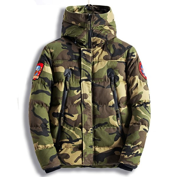 Men Camouflage 100% Coon jackets Mens Winter Motorcycle Piolet Parkas Hooded Coats Bomber Flight Jacket Overcoat 3901