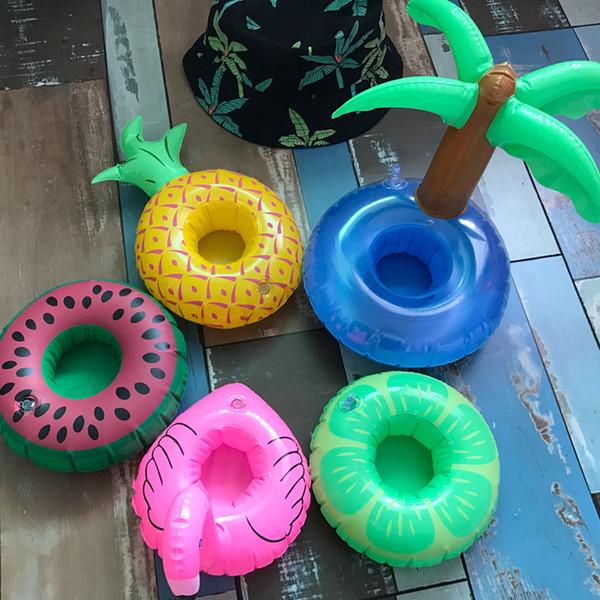 19 Farbe Mini Schwimmdock Halter Pool Schwimmring Wasser Spielzeug Party Getränke Boote Baby Pool Spielzeug Aufblasbare Getränkehalter swimring