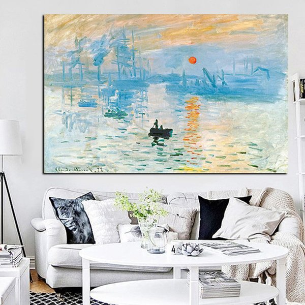 1 Piece Impression Sunrise Famous Landscape Oil Painting on Canvas Art Poster Print Wall Picture for Living Room No Framed