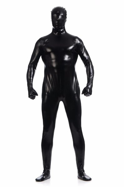 Men's Shiny One Piece Full Bodysuit Lycra Spandex Zentai Costume Hooded Mask Skin Tight Suit Metallic Stage Performance Costume