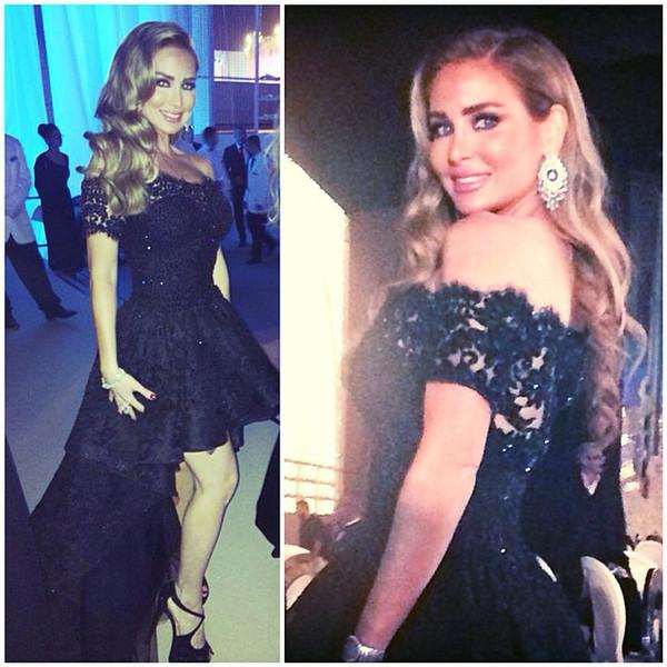 Elegant Robe de soiree Black Lace High Low Evening Dresses Sexy Off The Shoulder Arabic Designer Prom Gown Dress Abendkleid 2018