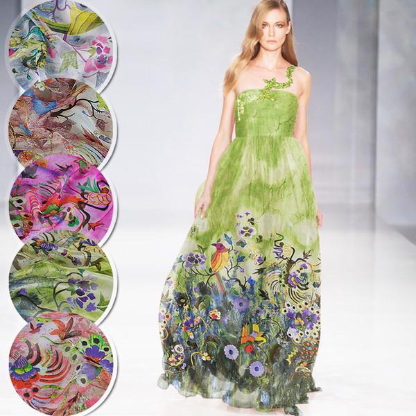 135*50cm bird flower pure mulberry silk tulle 100% silk Chiffon Fabric sewing scarf fabric Wedding Dress Clothes diy tissu