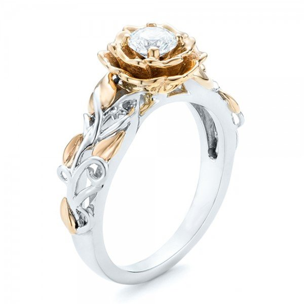 Hot explosions jewelry gold-plated double color ring European and American flowers female ring creative diamond ring