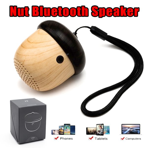 Nuts Speaker Wooden Mini bluetooth Speakers with Built-in Microphone and Strap Wood Loudspeaker for iPhone Android with Reatail Package