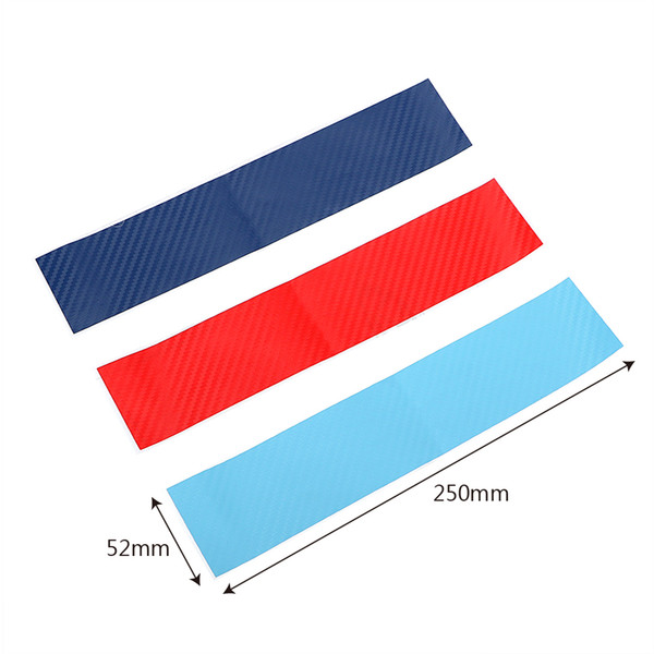 3pcs/set Car Stickers and Decals Carbon Fiber Front Grill Stripes For BMW M3 M5 M6 E46 E39 E60 E90 Auto Decoration Car-styling
