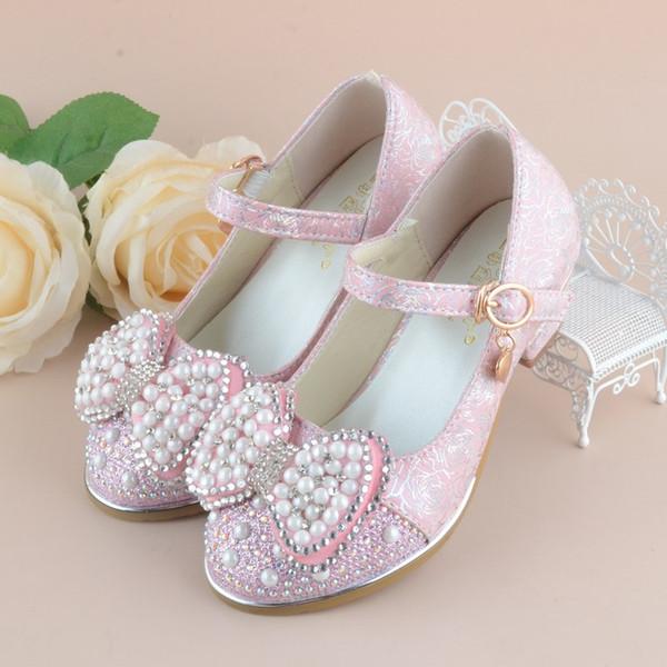 Kristal Kızlar Deri Ayakkabı Çocuklar Glitter Papyon Kızlar Yüksek Topuklu Elbise Parti Ayakkabı Kızlar Için Bahar Sonbahar Çocuk Prenses Ayakkabı