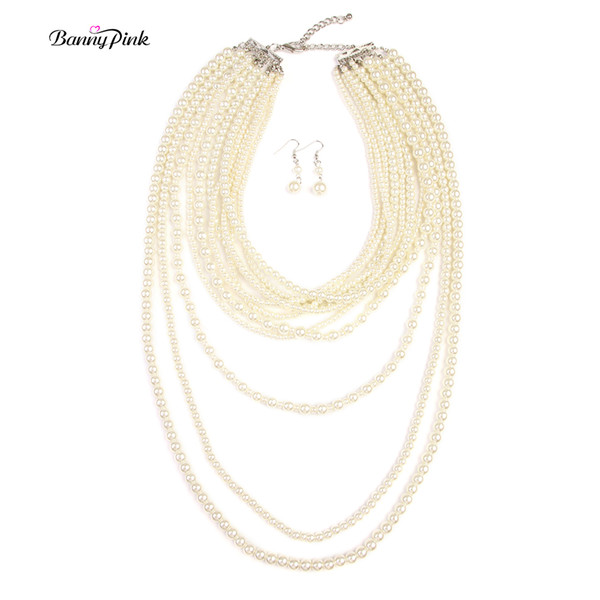 whole saleBanny Pink Handmade Imitation Pearl String Strands Necklaces For Women Elegant Multi Rows Long Necklace Fashion Jewelry Sets