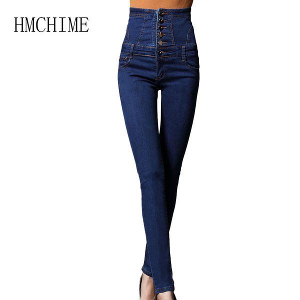 2018 Outono Único Breasted Lace Up Cordão de Calça Jeans Mulheres Cowboy Denim Calças de Cintura Alta Push Up Feminino Calças Lápis Jean