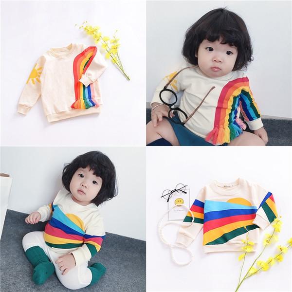 Bebé arco iris suéteres niñas manga larga pullover dibujos animados borlas de luz solar camiseta otoño invierno niños ropa caliente libre dhl 403