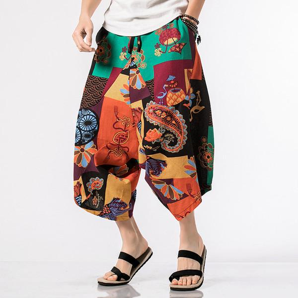 Ethnic Style Plus Size 5XL Cross-pants Men Big Crotch Drop Harem Pant Hiphop Elastic Waist Wide Legs Baggy Trousers Calf-Length