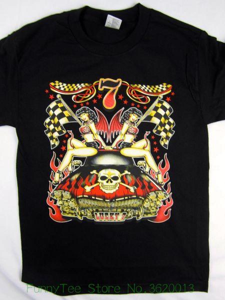 Lucky 7 Hot Rod Classic Car Flames Racer Black Tee Men&#039 ; S Shirt Choose A Size