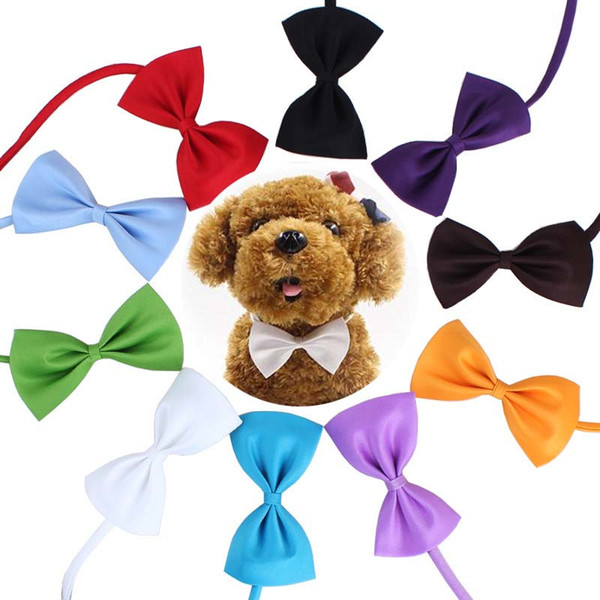 Pet tie Dog tie collar bow flower accessories decoration Supplies Pure color bowknot necktie DHL free shipping